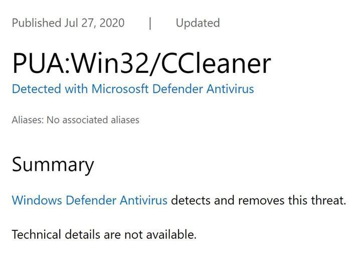 CCleaner Windows Defender tarafından istenmiyor