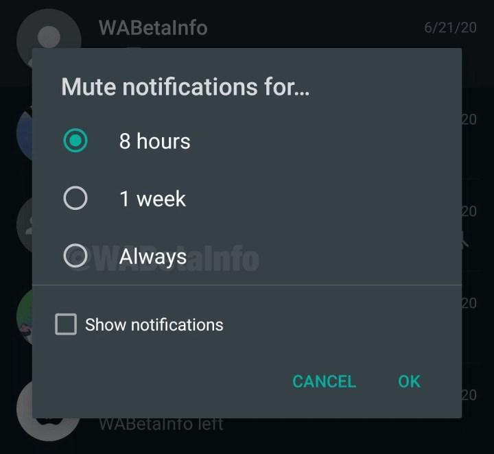"""WhatsApp, sohbetler için """"Her Zaman Sessiz"""" seçeneği üzerinde çalışıyor"""