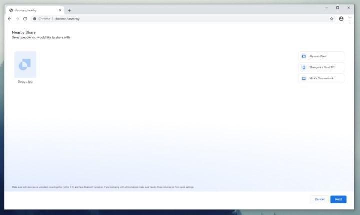 AirDrop benzeri Nearby Share, Google Chrome'da böyle görünecek