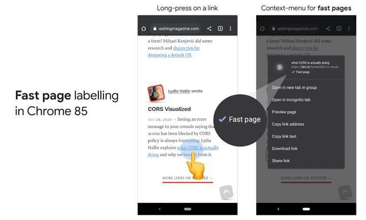 Chrome Android uygulaması hızlı linkleri etiketliyor