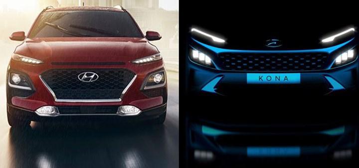 Makyajlı Hyundai Kona'nın ön tasarımını gösteren ipucu görseli paylaşıldı