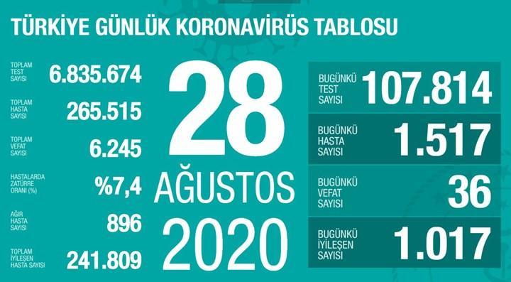 Yeni vaka sayısı 1500'ü aştı (28 Ağustos)