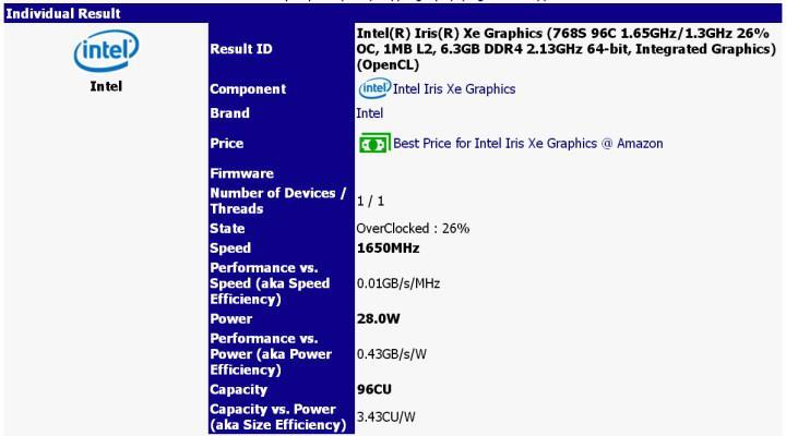 1.65 GHz'de çalışan Xe GPU'su testte ortaya çıktı.