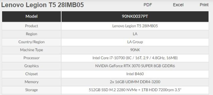Lenovo bu sefer de RTX 3070 Super'li sistemini listeledi