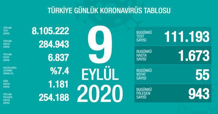 Koronavirüs tablosu açıklandı: İyileşen sayısı binin altında (9 Eylül)