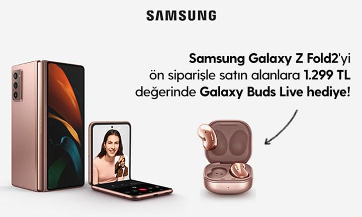 Samsung Galaxy Z Fold2'yi ön siparişle satın alanlara 1.299 TL değerinde Galaxy Buds Live hediye!
