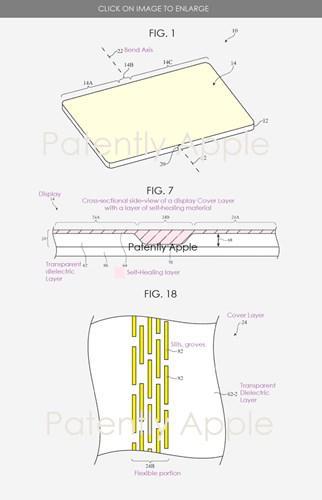 Apple, katlanabilir iPhone için kendi kendini onaran ekran patenti aldı