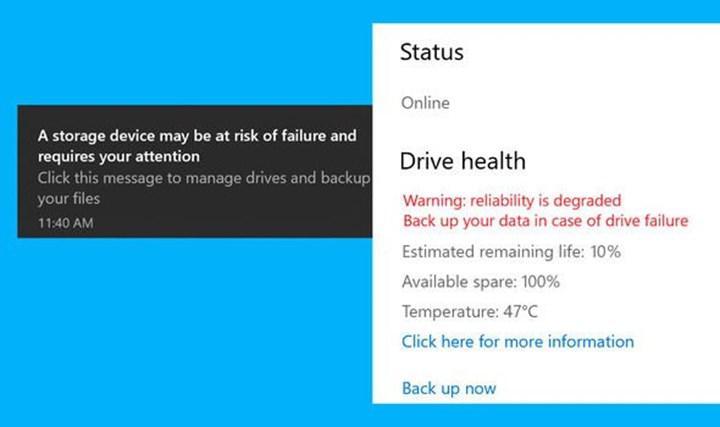 Windows 10, SSD'niz bozulmak üzereyse sizi uyaracak
