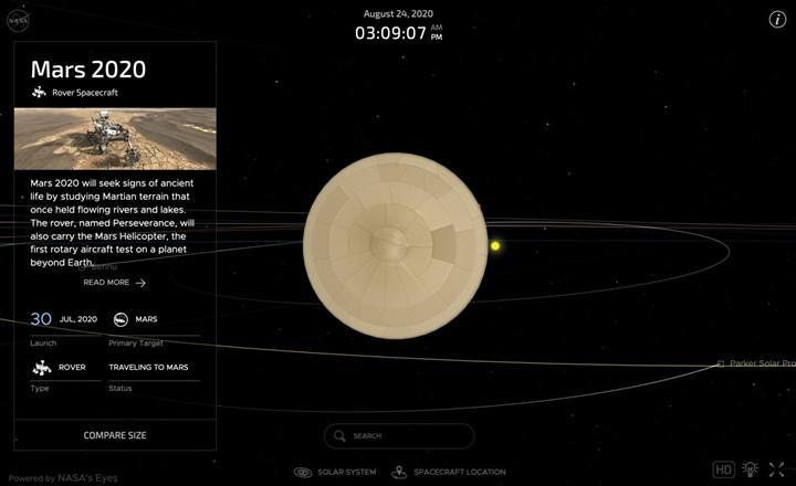 NASA, Perseverance gezgininin Mars yolculuğunu izleyebileceğiniz bir uygulama yayınladı