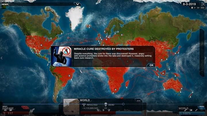 Mobil oyun Plague Inc'in, dünyayı salgından kurtarmaya çalıştığınız The Cure genişlemesi ücretsiz olarak yayınlandı