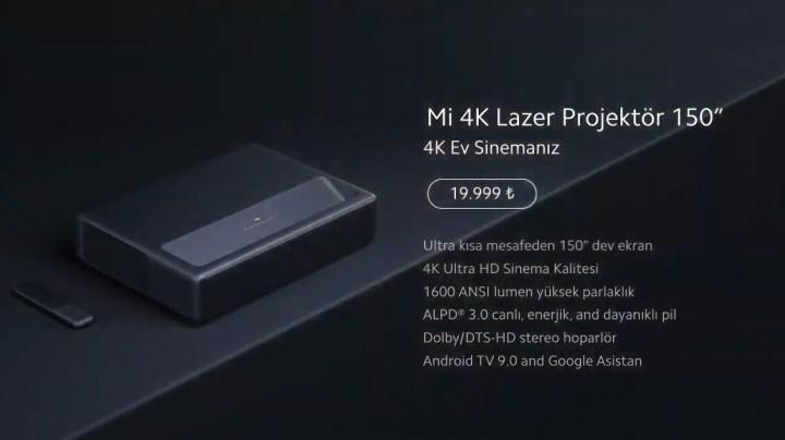 Mi 4K lazer projeksiyon cihazı ülkemizde satışa çıkıyor