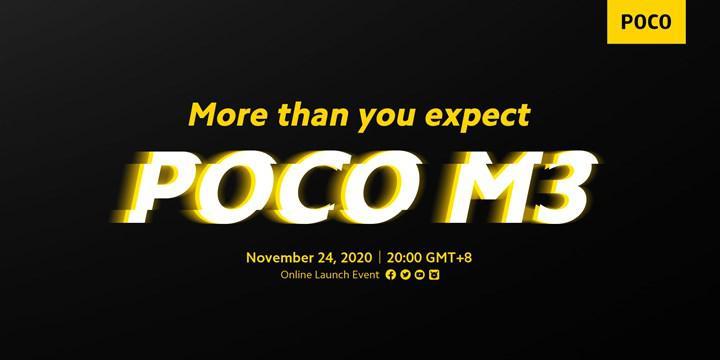 Poco M3'e ait render görüntü, farklı arka tasarımı ortaya koyuyor