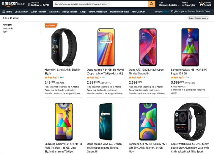 Amazon'da cep telefonu ve akıllı saat kategorisinde indirim var