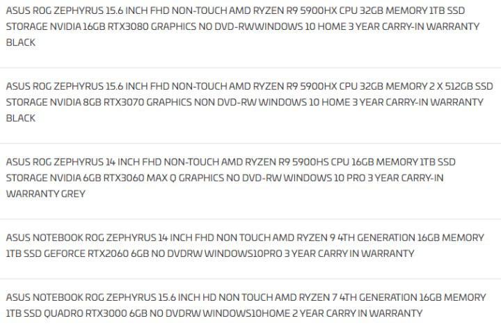 RTX 3080 ve Ryzen 9 5900HX taşıyan ASUS dizüstü ufukta görüldü