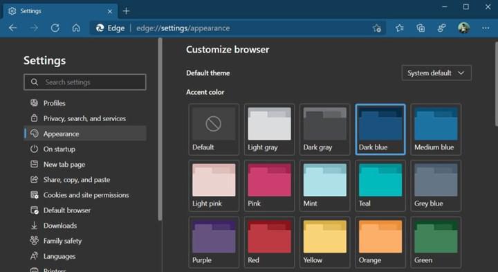 Microsoft Edge'e renk şeması seçeneği geliyor