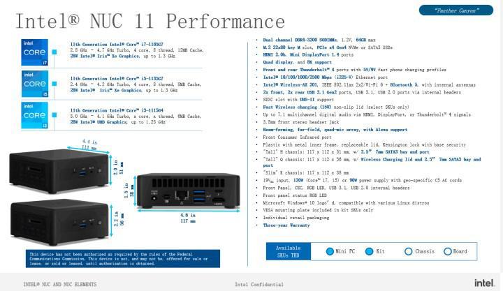 Intel NUC 11 Pro/Perfomance modelleri detaylandı
