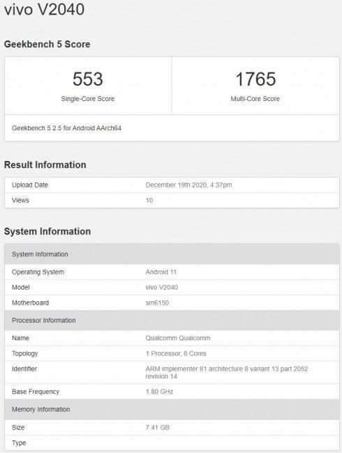 Vivo V20 (2021), Snapdragon 675 ile Geekbench'te görüldü