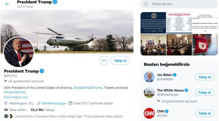 Twitter; Beyaz Saray hesaplarını sıfırlıyor