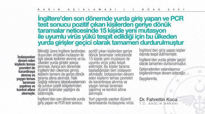 Sağlık Bakanı Fahrettin Koca 15 kişide mutasyonlu virüs görüldüğünü açıkladı