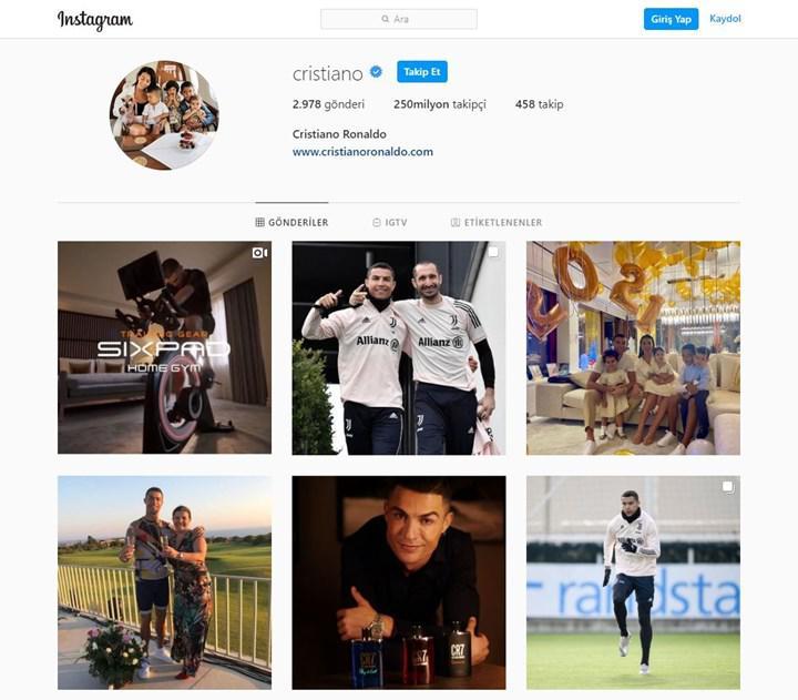 Cristiano Ronaldo, 250 milyon takipçiye ulaşarak Instagram'daki en popüler kişi oldu