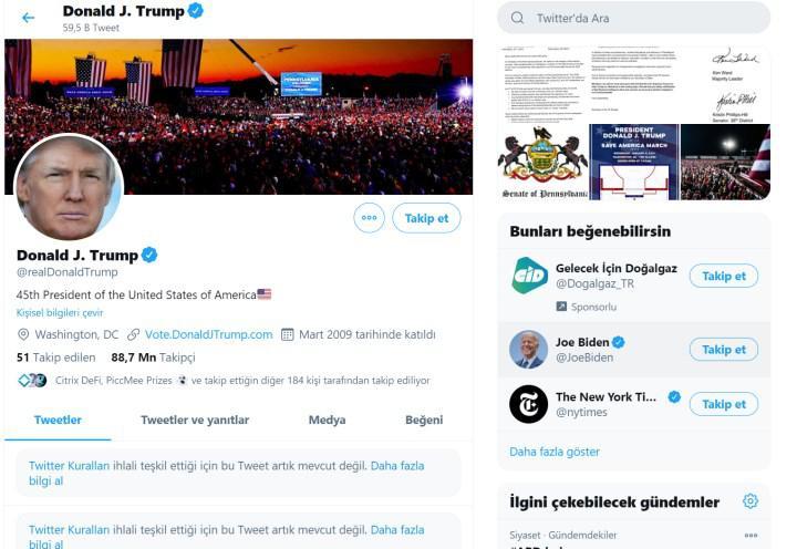 Kongre baskını sonrasında Trump'un sosyal medya hesapları askıya alındı