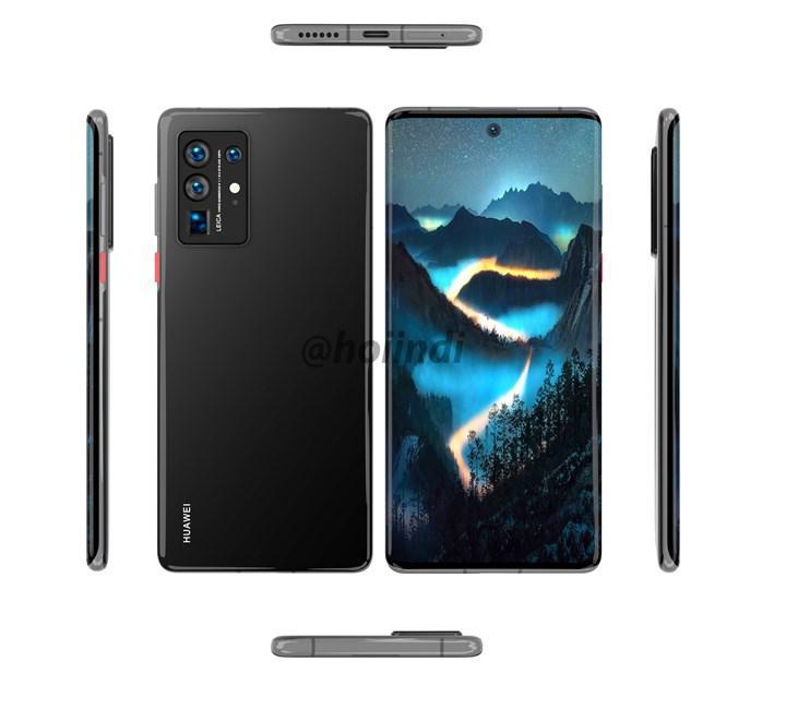 Huawei P50 Pro'nun render görüntüleri şelale tasarım ekranı gösteriyor