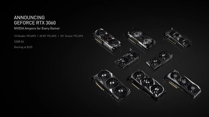 RTX 3060 12 GB detaylandı, fiyatı belli oldu