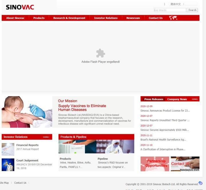 Sinovac'ın web sitesi Türkiye'den erişime açıldı