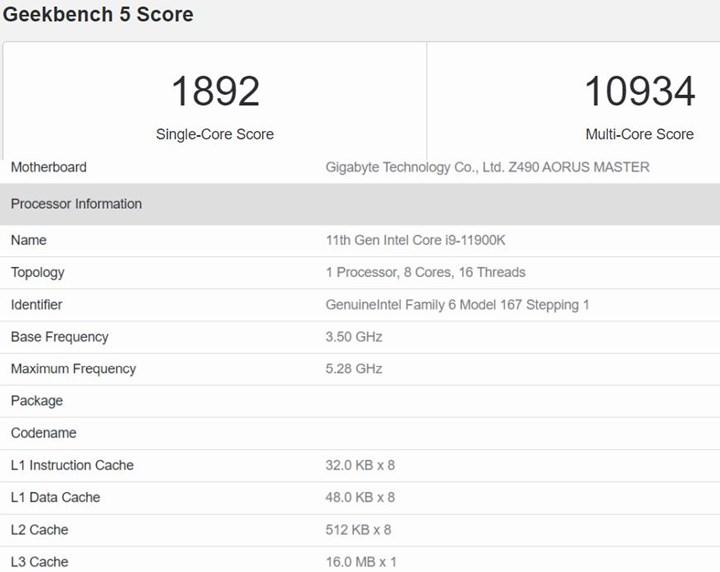 8/16 Core i9-11900K 10/20 Core i9-10900K ile eşleşiyor