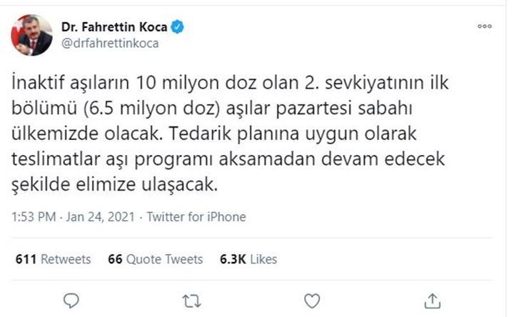 Pazartesi günü aşıların 2. sevkiyatı geliyor ! Süreç sonucunda 50 milyon doz Türkiye'ye gelecek