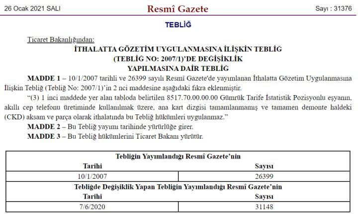 Türkiye'de telefon üretimine yeni teşvik düzenlemesi