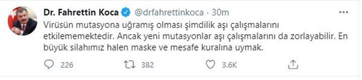 Sağlık Bakanı Koca açıkladı ! Türkiye'de mutasyonlu koronavirüs vaka sayıları açıklandı