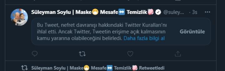 Twitter'dan Süleyman Soylu'nun tweetine kısıtlama