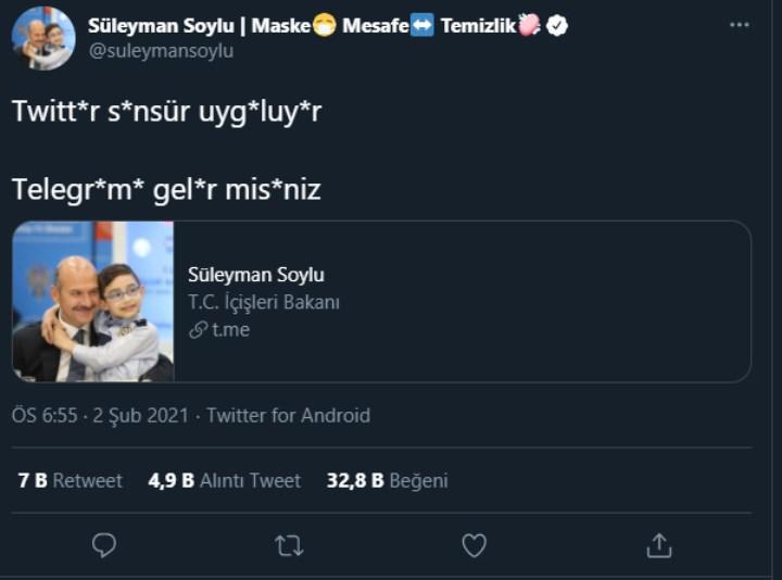Twitter hesabı kısıtlanan Bakan Soylu, takipçilerini Telegram'a davet etti