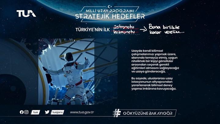 Türkiye, Uzay'a astronot gönderme hedefini duyurdu