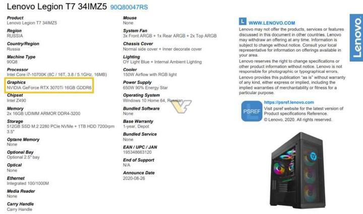 RTX 3070 Ti 16 GB yeniden gündemde