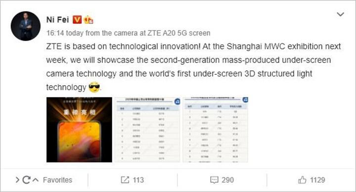 ZTE'den Apple Face ID'ye rakip geliyor: Ekran altı yüz tanıma sistemi