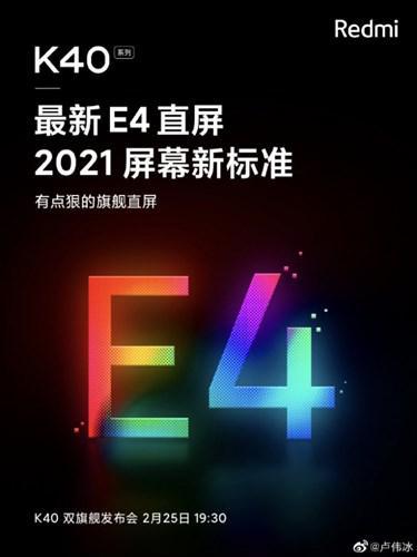 Redmi K40 serisinde Samsung'un E4 OLED paneli kullanılacak