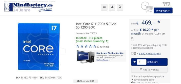Intel Core i7-11700K detaylanmadan satışa sunuldu
