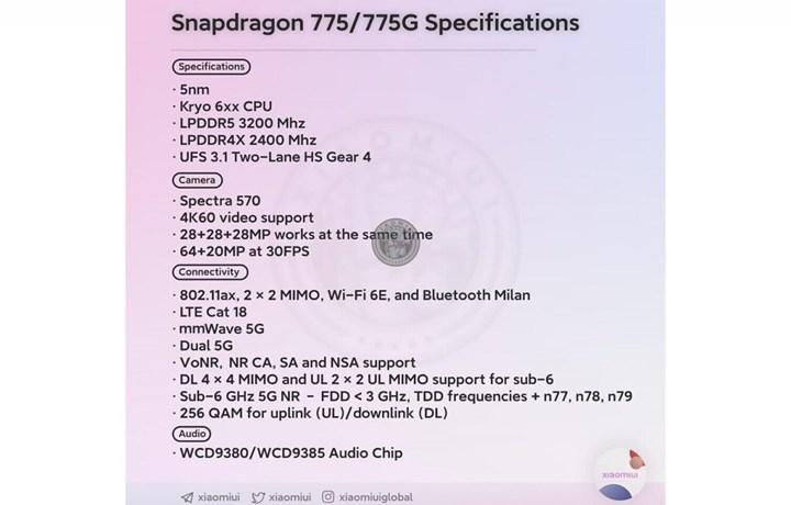 Qualcomm Snapdragon 775 yonga setinin detayları sızdı