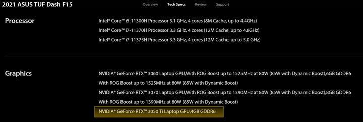 ASUS, mobil RTX 3050 Ti 4 GB'ı doğruladı