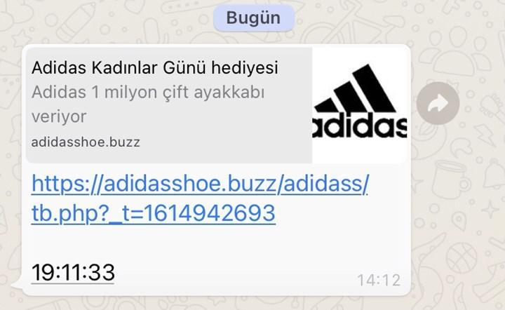 WhatsApp'ta Adidas virüsü yayılmaya başladı: Mesajla gelen linke tıklamayın!