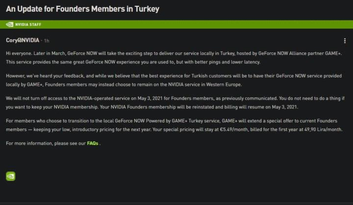 GeForce Now backed down: Global Founders members may not switch to Game + if they don't
