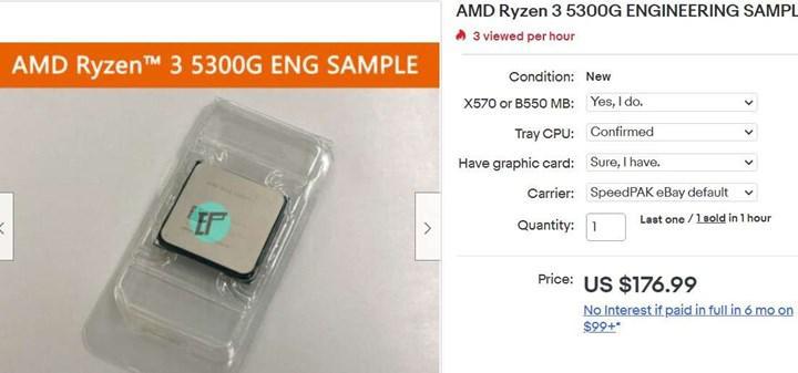 Ryzen 3 5300G listed on eBay
