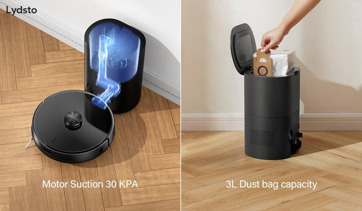 Lydsto R1 robot vacuum cleaner automatically empties its dust container