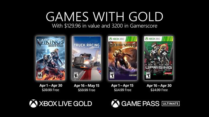 Free games to be given to Xbox Live Gold members in April have been announced