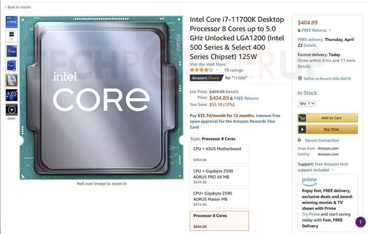 Intel Rocket Lake prices have already begun to decline