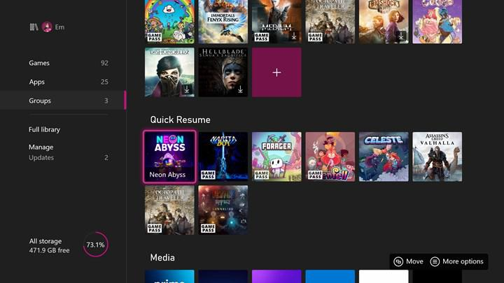 Xbox's new update released;  In the next update, users will be able to see games that support Quick Resume.