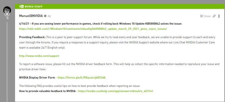 Nvidia'dan oyun performansını alt üst eden Windows 10 güncellemesi hakkında açıklama