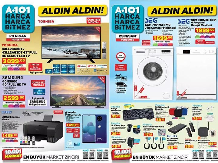 Haftaya A101 marketlerde Samsung televizyon ve Epson Ecotank yazıcı var